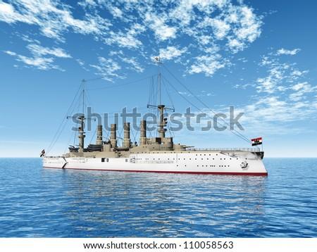 Historic Warship Scharnhorst Computer generated 3D illustration