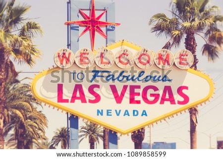 Historic Welcome to Fabulous Las Vegas Nevada sign along the Vegas Strip