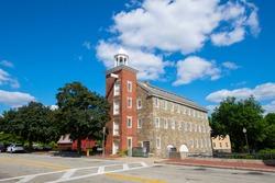 Historic Wilkinson Mill building in Old Slater Mill National Historic Landmark on Roosevelt Avenue in downtown Pawtucket, Rhode Island RI, USA.
