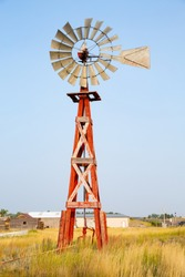 Historic windmill in Upton, old town, Wyoming, USA