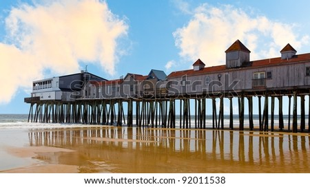 Historic wooden pier at Old Orchard Beach, Maine