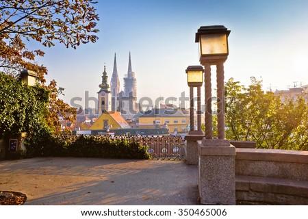 Historic Zagreb towers sunrise view, capital of Croatia