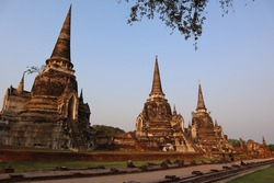 Historical and cultural ancient architecture in Ayutthaya, Thailand