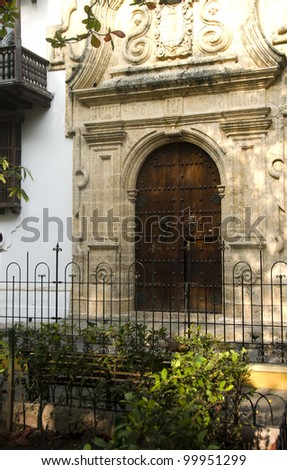 historical architecture entry Palace of the Inquisition Museum Historical of Cartagena de Indias Colombia at Bolivar Park
