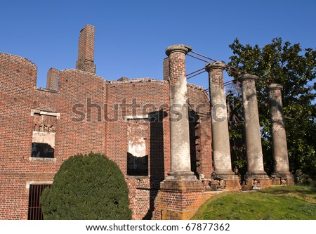 Historical brick structure, the Barboursville ruins in Virginia, a common United States tourist attraction.
