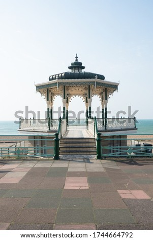 Historical Brighton Beach Bandstand, one of the finest examples of a Victorian bandstand  located at seafront in Brighton & Hove, East Sussex, The UK.