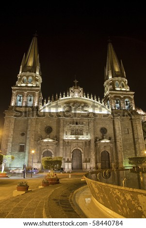 Historical cathedral in  Guadalajara, Jalisco, Mexico