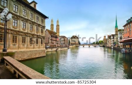 historical center of evening Zurich