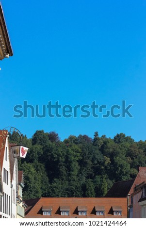 historical city schwaebisch gmuned details ornaments and facades marketplace in south germany sunny summer day #1021424464
