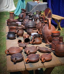 historical clay and ceramic dishes