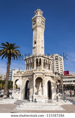 Historical Clock Tower of Izmir,Turkey. It was built in 1901, at Konak Square and accepted as the symbol of Izmir City