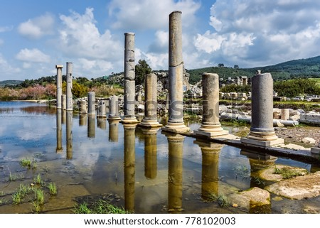 Historical columns reflections in a antique city #778102003