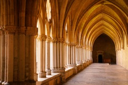 historical construction ancient cloister of gothic monastery hall