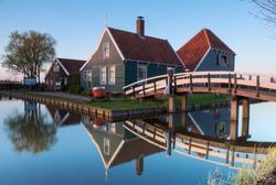 Historical dutch house at the Zaanse Schans village in the evening  near Zaandam, The NetherlandsPhoto taken on April 16, 2018
