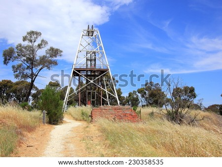 Historical Gold mining poppets in country setting Australia