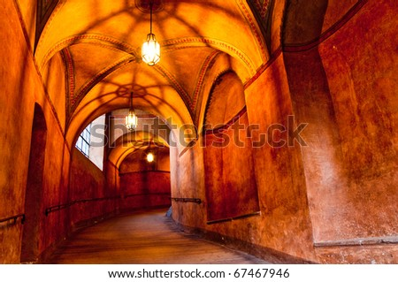 historical hallway in old castle