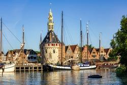 Historical Hoofdtoren tower in the harbor of Hoorn town, North Holland, Netherlands