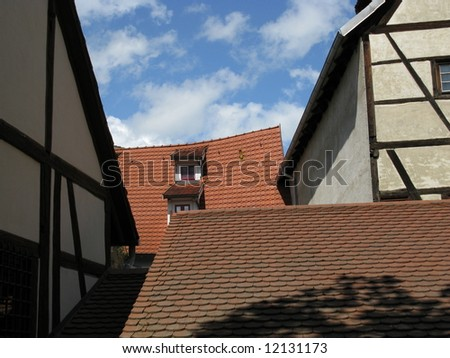 historical houses in Erfurt, capital city of Thuringia  Germany