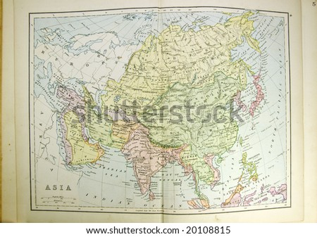Historical map of Asia. Photo from atlas published in 1879 in Great Britain.