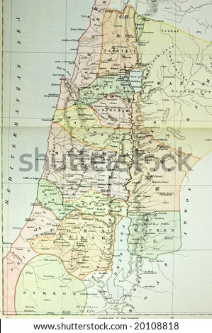 Historical map of Palestine (Ancient Israel). Photo from atlas published in 1879 in Great Britain.