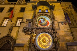 Historical medieval astronomical Clock in the Night, Prague Old Town Hall, Czech Republic