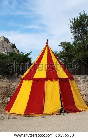 historical medieval camp tent red and yellow