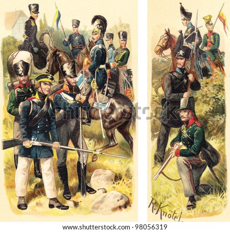 Historical military uniforms from Prussia - 1813 (left) and Braunschweig - 1809 (right) / vintage illustration from Meyers Konversations-Lexikon 1897