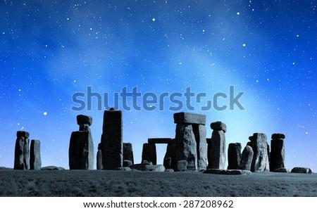 Historical monument Stonehenge in night,England, UK Stock photo ©
