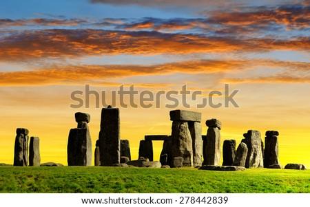 Historical monument Stonehenge in the sunset, England, UK Stock photo ©