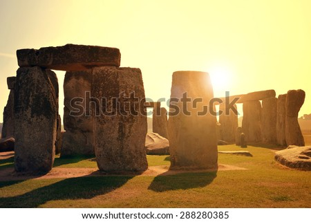 Historical monument Stonehenge in the sunset, England, UK