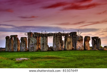 Historical monument Stonehenge not far from town of Amesbury at sunset, England. HDR Stock photo ©