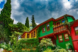 Historical, Old, Colorful Houses in Bursa, classic Ottoman wooden architecture in Bursa, Turkey.