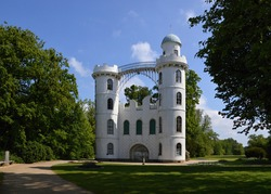 Historical Palace in Spring on the Island Pfaueninsel, Wannsee, Zehlendorf, Berlin