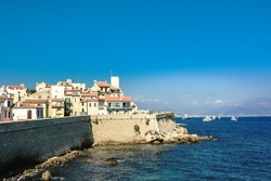 Historical part of Antibes, town in french Riviera on côte d'azur,