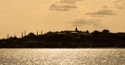 Historical peninsula, capital of the ancient Byzantine and Ottoman state, Istanbul Turkey looks at Topkapi Palace, Hagia Sophia and Blue Mosque on the historical peninsula, September 01, 2009