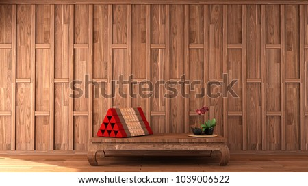 historical period drama scene,interior design in Thai style with wooden cap wall pattern and Thai triangle pillow on  wooden floor 3d illustration
