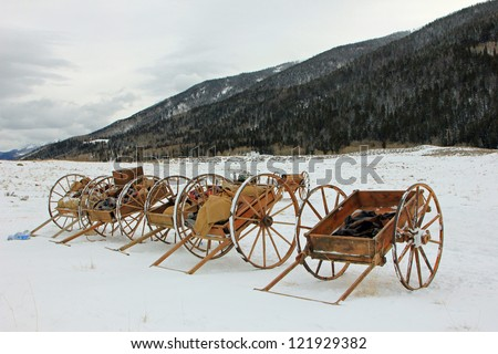 Historical pioneer handcarts in the Utah mountains, USA.