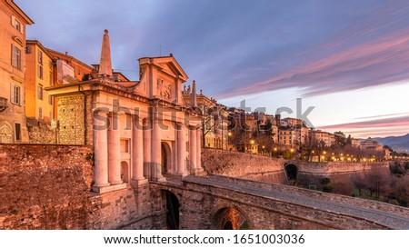 Historical Porta San Giacomo view in Citta Alta of Bergamo City Foto d'archivio ©