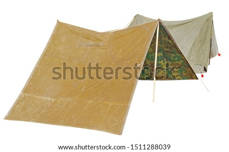 historical reconstruction small military tents on white background