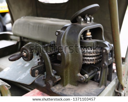 Historical reenactment of the Second World War. Vintage jeep, detail.