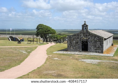 Historical Santa Teresa Fort on Uruguay. Near the Brazilian border of Chui, the fort was started by the Portuguese & finished by the Spanish, in the context of Uruguay wars spreading along 3 centuries #408457117