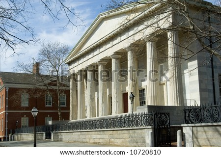 Historical Second Bank of the US in Greek revival style, 1800s, Philadelphia