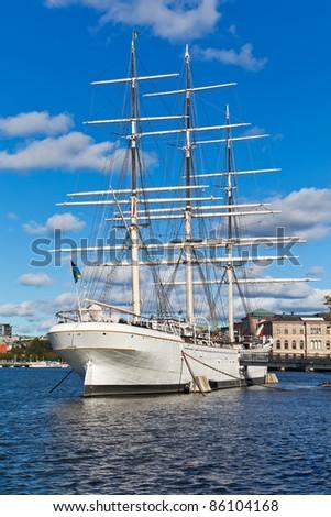 Historical ship at the Skeppsholmen island in the Old Town in Stockholm, Sweden
