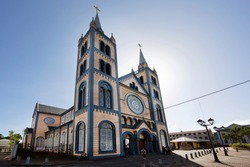 Historical St. Petrus and Paulus church made of cedar wood in the city center of Paramaribo