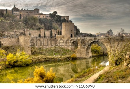 Historical Toledo view and bridge over Tagus, Spain.