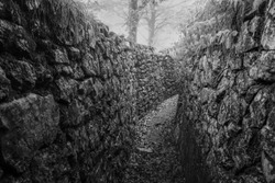 Historical trench from the First World War. Photographed in Austria where they fought against Italy in a bloody war in the Alps