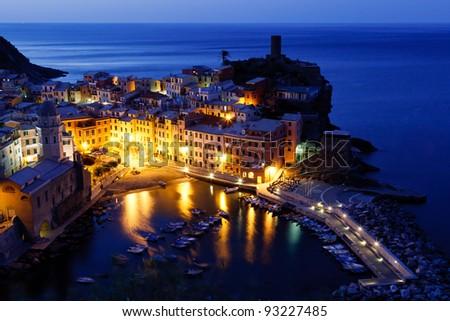 Historical Village Vernazza in the Night, Cinque Terre, Italy