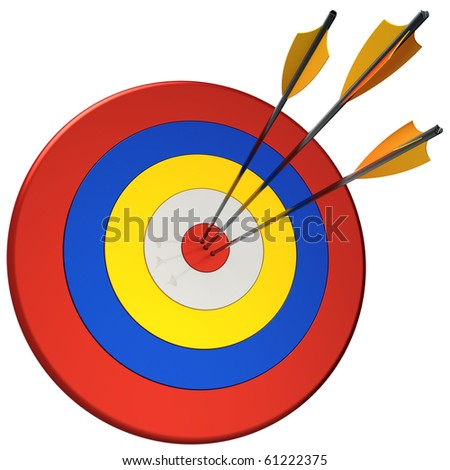 Hit a target 100 percents. Three arrows in bull's eye target.  This is a detailed 3D render (Hi-Res). Isolated on white.