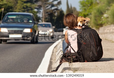 Hitchhike traveler with dog on the waiting for a car