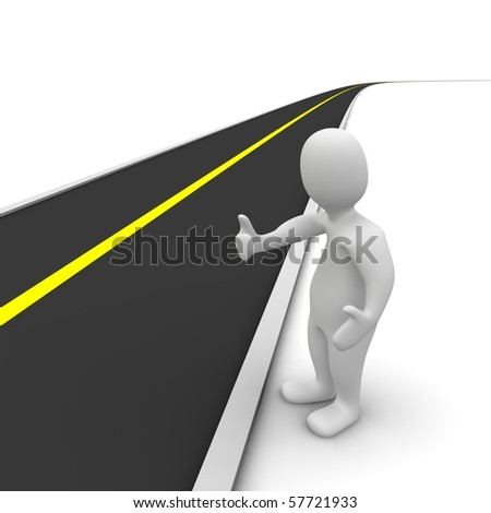 Hitchhiker and empty road. 3d rendered illustration.